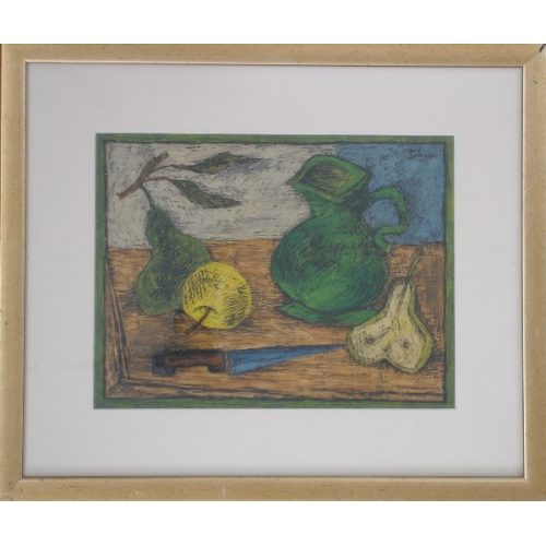 Untitled (Green Decantor w/Fruit)