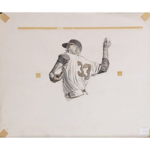 Pitcher Original Sketch for Sports Illustrated. October 13, 1958 Edition